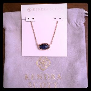 Kendra Scott Rose Gold Elisa In Navy Dusted Glass